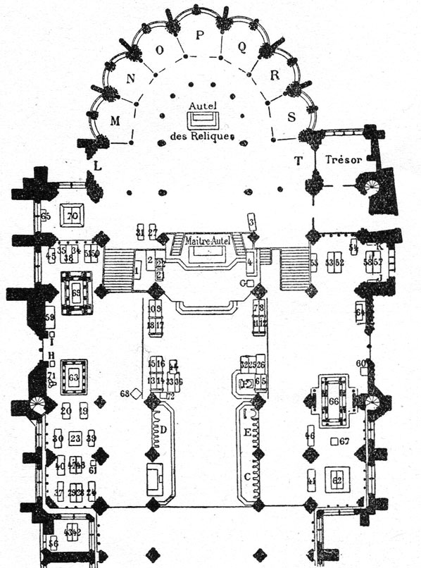 Plan de la basilique Saint-Denis à Paris